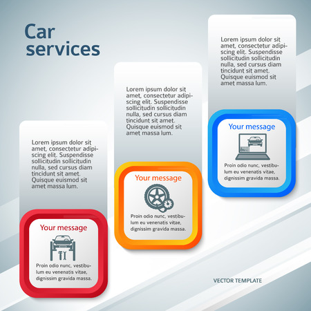 Auto service and car repair background with icons design elements on vertical rectangular banner. Modern business presentation template for car newsletter.