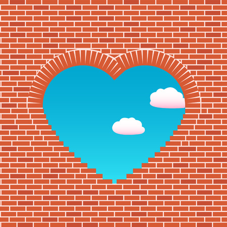 Opening in a wall in the form of heart. The sky through a wall is visible. Love wall. Love illustration Vector