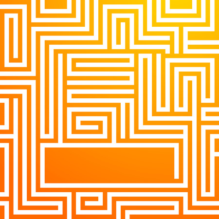 Labyrinth texture and place for your text isolated on orange glow background.  Success concept in business maze & problem solving