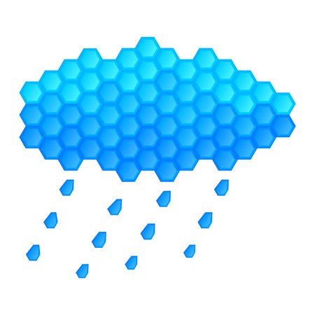 Rain, hail from the clouds. The rain is falling. Big blue cloud of crystals. Winter weather