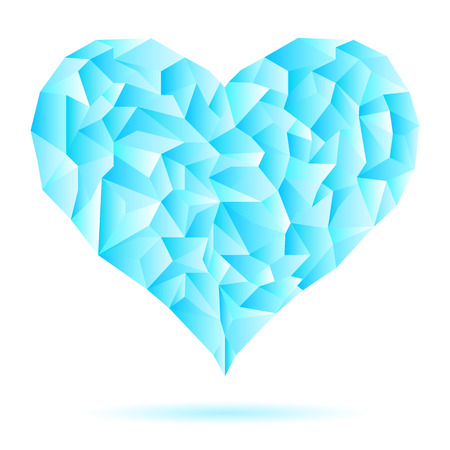 keystone: The frozen heart consisting of ice crystals. Heart blue. Abstract isolated triangles - polygons ice heart in white background.