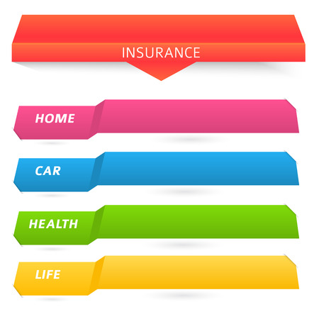 insurance claim: Modern Design style infographic template. Illustration of different kinds of insurance. Can be used for infographics and chart process the insurance company, business service steps options Illustration