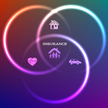 homeowner: Design cover page template. Illustration of kinds of insurance for business service company. Glowing icons insurance on dark gradient background with bright glow effect circles intersect each other