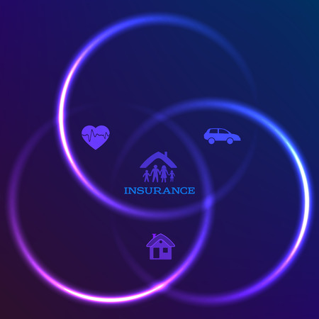 property management: Design cover page template. Illustration of kinds of insurance for business service company. Glowing icons insurance on dark blue background with big bright glow effect circles intersect each other