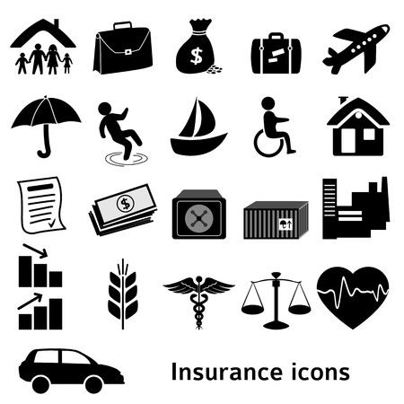 Set icons insurance. Vector illustration of different kinds of insurance. Can be used for infographics and typography, chart process the insurance company, business service steps options Vettoriali
