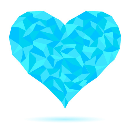 keystone light: The frozen heart consisting of ice crystals. Heart blue. Abstract isolated triangles - polygons icy heart in white background.