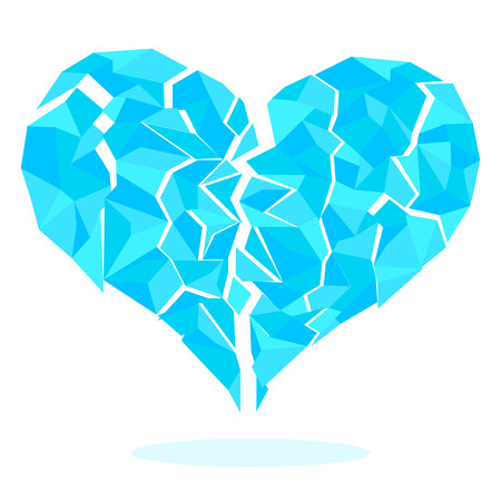 keystone light: Broken frozen heart consisting of ice crystals. Heart blue.  Illustration