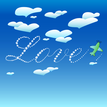 The inscription on the sky. Plane in the sky wrote love. Clouds hearts. Background, template. Vector