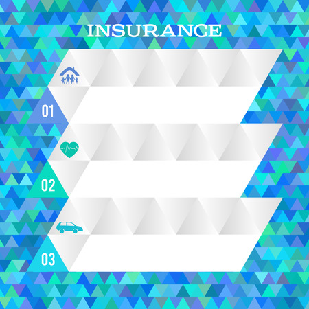 family policy: Modern Design geometric style template on blue background with space place for your text. Vector illustration for infographics and chart process the insurance company, business service steps