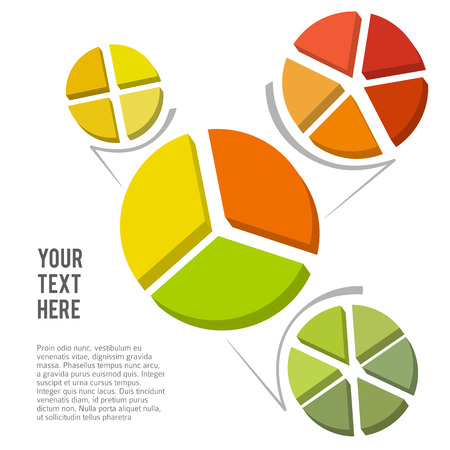 sector: Set Design elements infographic style template on white background with effect 3d divided into sector pie circle. Vector illustration for statistic share profit newsletters, pages presentation Illustration
