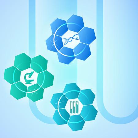 adn: Fondo abstracto en estilo médica infografía - concepto de investigación laboratiry o laboratorio de análisis. Ilustración del vector. Los elementos de diseño gráfico tehno flores con el icono de microscopio, dna, tubo de ensayo