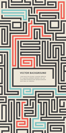 Abstract vector background design with maze texture and place for your text isolated. Good cover for a booklet on psychology, creative problem solving, logical thinking, the study of human relations Stock Illustratie