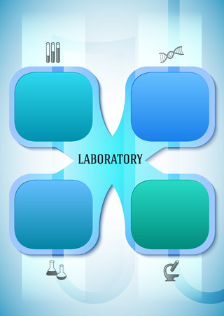 inovation: Abstract background in style infographics science - concept laboratory research or analysis lab. Vector Illustration. Graphic Design elements techno flowers with icon microscope, dna, test tube Illustration