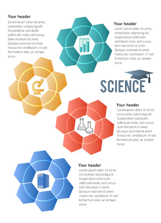 inovation: Abstract background in style infographics science education concept. Vector Illustration, Graphic Design elements tehno flowers with icon microscope, books, test tube, flask, graduation cap