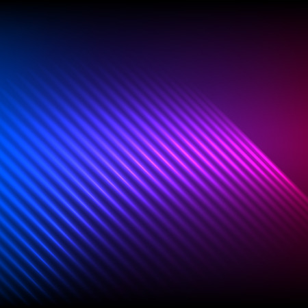 Modern design blue pink abstract background of bright glowing blur wave lines. Vector illustration. Futuristic northern lights style night glow neon disco club or night party Illustration