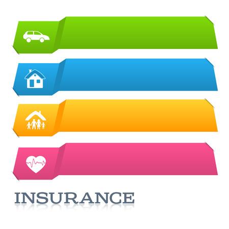 モダンなデザイン スタイル インフォ グラフィック テンプレートです。保険の種類のイラスト。インフォ グラフィックとグラフ プロセス保険会社