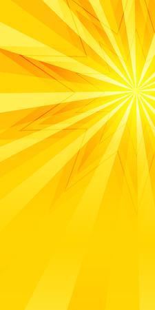 Werbung Flyer Design-Elemente. Gelber Hintergrund mit eleganten grafischen sun star hellen Lichtstrahlen aus. Vektor-Illustration für Vorlage Broschüre Layout Broschüre, Newsletter Standard-Bild - 42422081