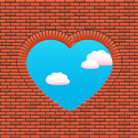title page: Opening in a wall in the form of heart. The sky through a wall is visible. Love wall. Vector illustration for title page brochure, cover book or magazine, love poster, ad party