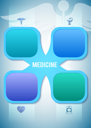 medical technology: Blue medical background abstract - concept healthcare or medicine technology. Vector Illustration, Graphic Design elements horizontal banner with icons health, cardiology, nurse