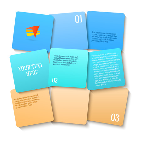 newsletter: Modern Design info graphic style template on blue squares background with numbered 3d effect blocks. Vector illustration for new product newsletters, web banners, pages presentation