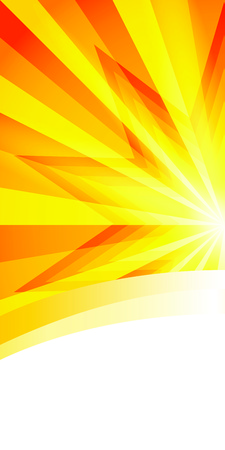 bright light: Advertisement flyer design elements. Yellow background with elegant graphic sun star bright light rays from. Vector illustration   for template brochure, layout leaflet, newsletters