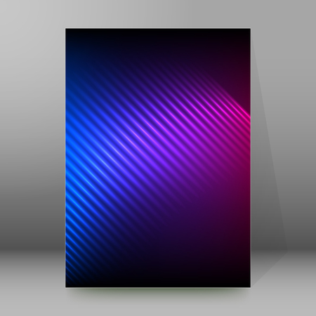 Purple blue abstract background of bright glow perspective with lighting lines.