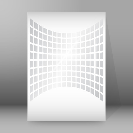 affiche: Modern geometrical grey background of bright glowing perspective with squares.  Illustration