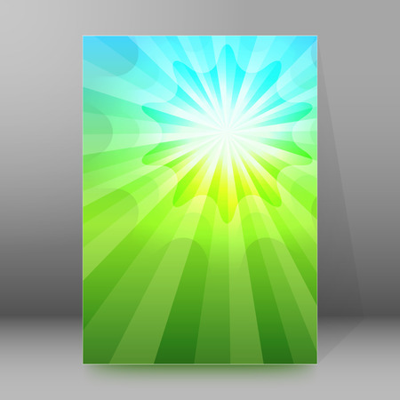 product background: Advertisement flyer design elements. Blue green background with elegant graphic sun star bright light rays from.