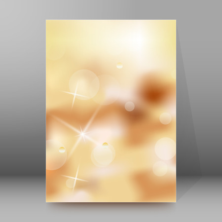 manual: Advertisement flyer design elements. Cappuccino background with elegant graphic stars bright light rays from.