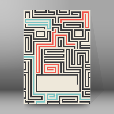 disorientated: Maze texture vintage and place for your text isolated.  Illustration