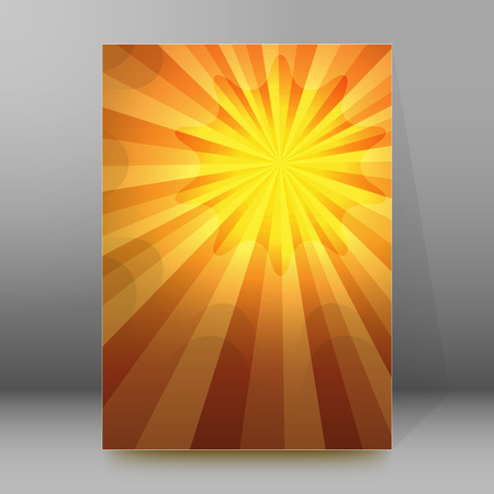 hot announcement: Summer background with broun yellow rays summer sun light burst. Hot announcement with space for your message. Vector illustration EPS 10 for design presentation, brochure layout page, cover magazine