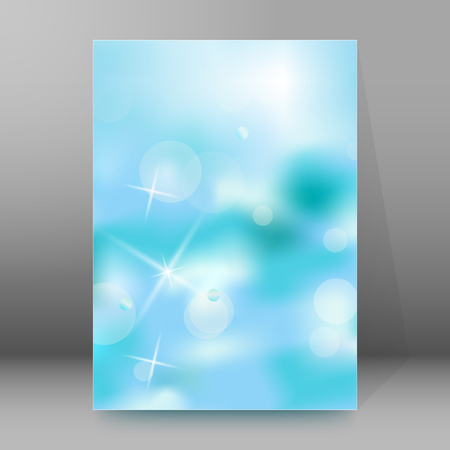 affiche: Advertisement flyer design elements. Blue background with elegant graphic stars bright light rays from. Vector illustration EPS 10 for template brochure, layout leaflet, newsletters
