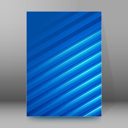 newsletter: Blue background advertising brochure design elements. Glowing light stripe oblique graphic form for elegant flyer. Vector illustration EPS 10 for booklet layout, spring theme leaflet, newsletters