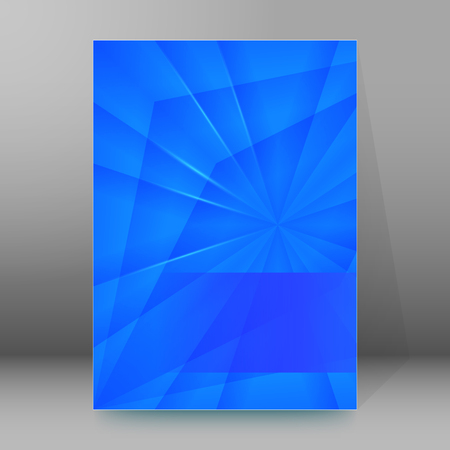 affiche: Blue background advertising brochure design elements. Crystal structure graphic form for elegant flyer. Vector illustration EPS 10 for booklet layout page, future technology theme leaflet, newsletters Illustration