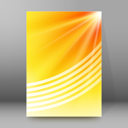 hot announcement: Summer background with yellow rays summer sun light burst. Hot announcement with space for your message. Vector illustration EPS 10 for design presentation, brochure layout page, cover book & magazine