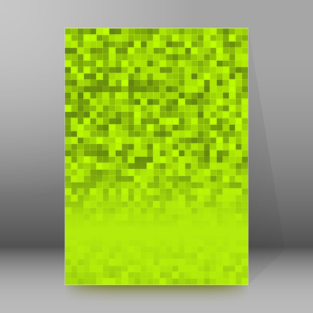 booklet design: Green background advertising brochure design elements. Pixel structure graphic form for elegant flyer. Vector illustration EPS 10 for booklet layout page, future techno theme leaflet, newsletters Illustration