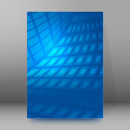 frash: Abstract blue background advertising brochure design elements. Glowing light mosaic graphic form for elegant flyer. Vector illustration EPS 10 for booklet layout page, leaflet template, newsletters