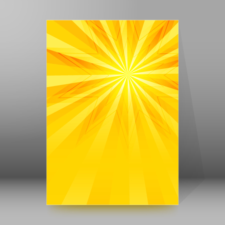 hot announcement: Summer background with orange yellow rays summer sun light burst. Hot announcement with space for your message. Vector illustration EPS 10 for design presentation, brochure layout page, cover magazine