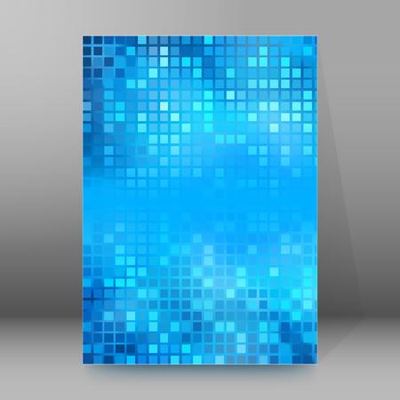 broadside: Advertisement flyer design elements. Mesh blue background with elegant graphic mosaic bright light. Vector illustration EPS 10 for template brochure, layout leaflet, newsletters