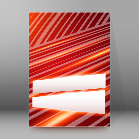 periodical: Red background advertising brochure design elements. Lines intersection structure graphic form for elegant flyer. Vector illustration EPS 10 for booklet layout, wellness leaflet, newsletters
