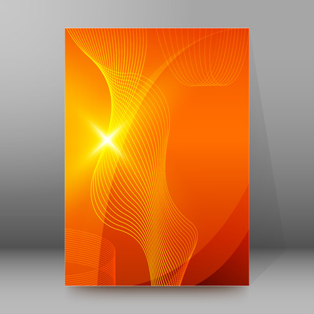 sol radiante: naranja de moda y el fondo amarillo de la perspectiva brillante brillante con líneas de onda. Ilustración del vector EPS 10 para el folleto plantilla, folleto de diseño, boletines de noticias