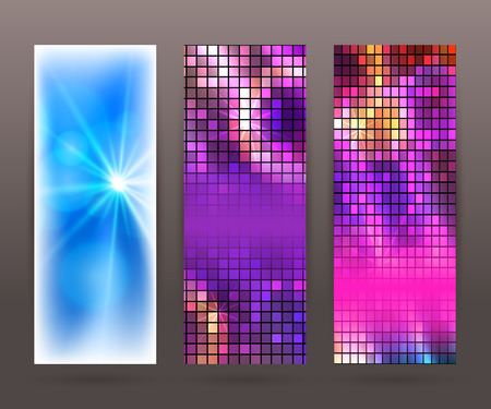 lighten: Design elements business presentation template. Vector illustration set vertical web banners background, backdrop glow light effect .  Illustration