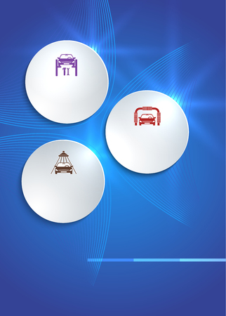 tire cover: Car service business presentation template on blue background. Vector illustration
