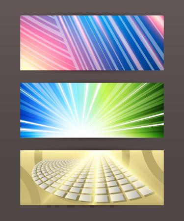 tehnology: Design elements business presentation template. Vector illustration set horizontal web banners background, backdrop glow light effect .  Illustration