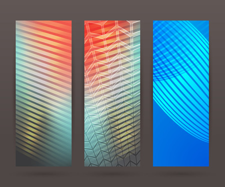 comercial: Design elements business presentation template. Vector illustration set vertical web banners background, backdrop glow light effect .