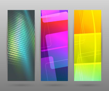 tehnology: Design elements business presentation template. Vector illustration set vertical web banners background, backdrop glow light effect .