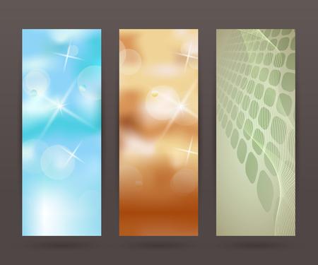 comercial: Design elements business presentation template. Vector illustration set vertical web banners background, backdrop blur glow light effect .