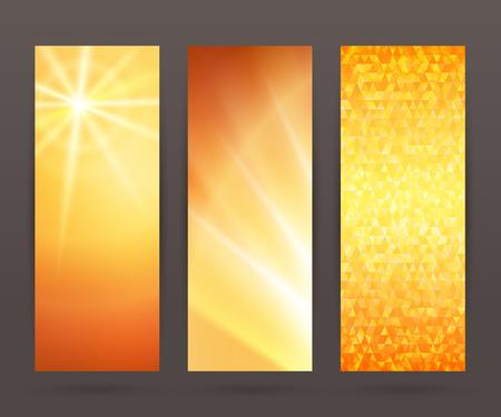 Los elementos de diseño de la plantilla presentación de negocios. conjunto de ilustración vectorial fondo vertical banderas de la tela, el efecto de telón de fondo brillan con luz. Ilustración de vector