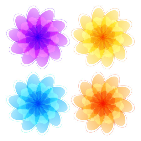 cosmetician: Set flowers abstract vector icons design template. Wellness & SPA creative idea. concept symbol icon for boutique, beauty salon, cosmetician, relax massage, hotel & resort. Vector illustration EPS 10 Illustration