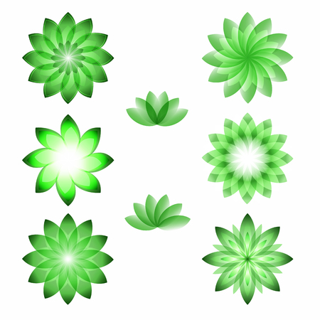 massage symbol: Set flowers isolated icons design. Floral aromatherapy & organic production for spa treatment. Concept symbol for floral parfume, beauty salon, relax aroma massage, resort. Vector illustration EPS 10